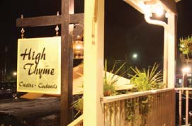 High Thyme Cuisine's store sign in Sullivans Island. Fine dining for your taste pallet